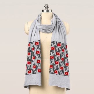 Deco Greek Key, Red, White and Grey / Gray Scarf