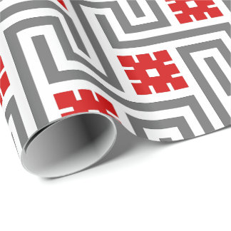 Deco Greek Key, Red, White and Grey / Gray Wrapping Paper