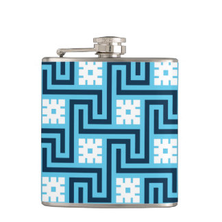 Deco Greek Key, Sky Blue and Navy Hip Flask