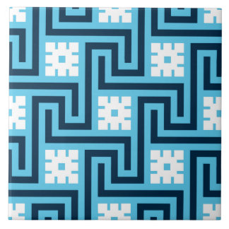 Deco Greek Key, Sky Blue and Navy Tile