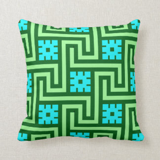 Deco Greek Key, Turquoise and Jade Green Cushion