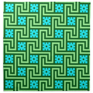 Deco Greek Key, Turquoise and Jade Green Napkin