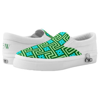 Deco Greek Key, Turquoise and Jade Green Slip-On Shoes