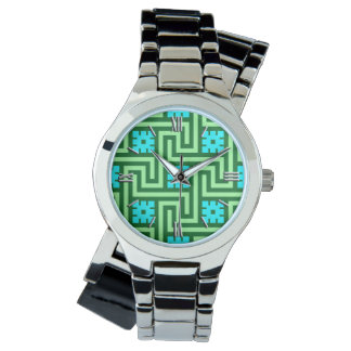 Deco Greek Key, Turquoise and Jade Green Watch