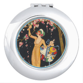 Deco lady pink flowering tree vintage image travel mirror