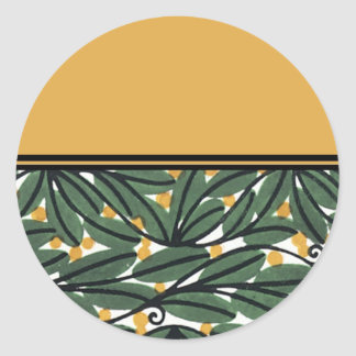 Deco Leaves Classic Round Sticker