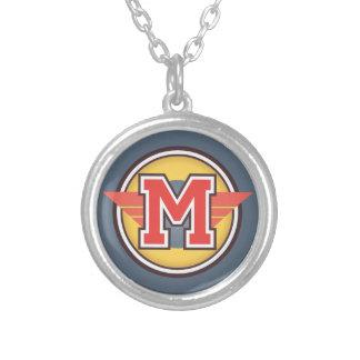 """Deco Monogram Initial """"M"""" Round Pendant Necklace"""