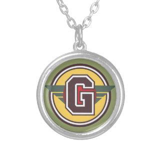 "Deco Monogram Letter ""G"" Initial Round Pendant Necklace"