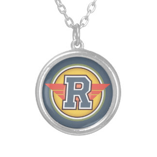 "Deco Monogram Letter ""R"" Initial Round Pendant Necklace"