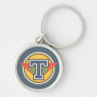 Deco Monogram Letter T Initial Silver-Colored Round Key Ring