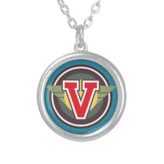 "Deco Monogram Letter ""V"" Initial Round Pendant Necklace"