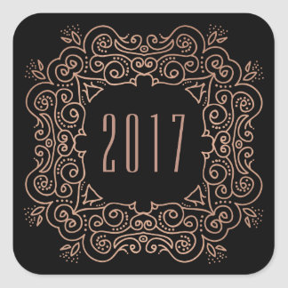 Deco New Year | Faux Rose Gold Square Sticker