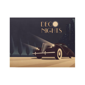 DECO NIGHTS WOOD POSTER