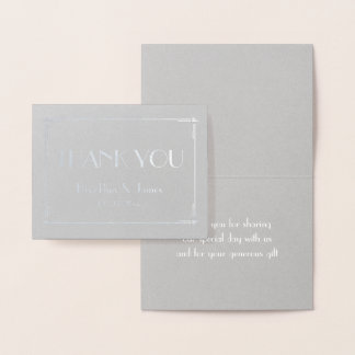Deco Real Silver Foil Grey Wedding Thank You Cards