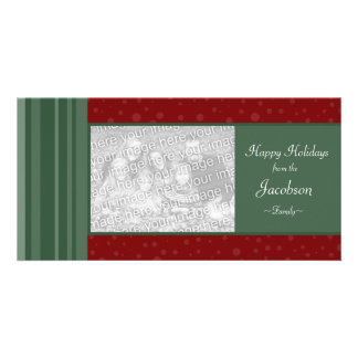 Deco Rich Red and Green Holiday Photo Cards