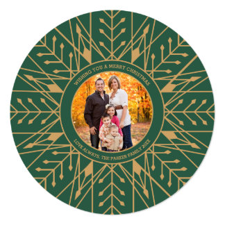 Deco Snowflake Christmas Photo Card 13 Cm X 13 Cm Square Invitation Card