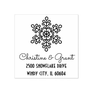 Deco Snowflake | Personalized Holiday Rubber Stamp