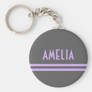 Deco Stripes Name Monogram Gray Lavender Basic Round Button Key Ring
