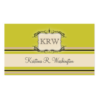 Deco Stripes Warm Olive Business Card