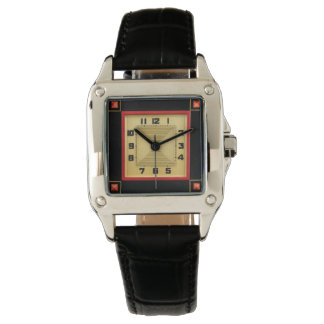 Deco Style Square Black Leather Watch
