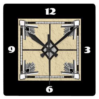 deco tile square wall clock