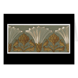 Deco White Fan Flowers With Gold and Gray Greeting Card