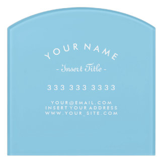 Decor Sky Blue and White Curved Text Business Door Sign