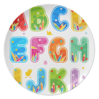 Decorated ABC set, letters A-L Party Plate