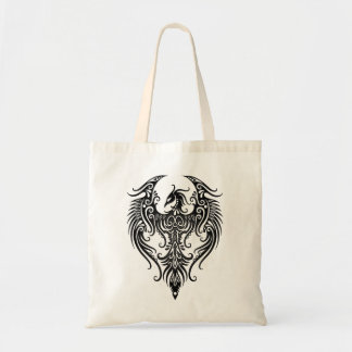 Decorated Black Tribal Phoenix Budget Tote Bag