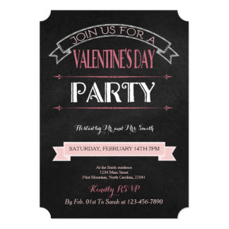 Decorated Chalkboard | Valentine Party Invitation