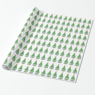 Decorated Christmas Tree 8bit Video Game Style Wrapping Paper