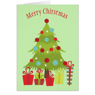 Decorated Christmas Tree and Presents Card