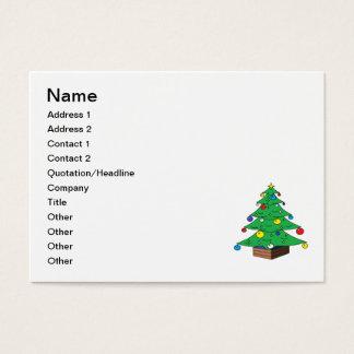 Decorated Christmas tree cartoon Business Card