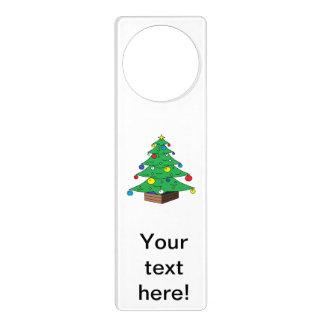 Decorated Christmas tree cartoon Door Hanger