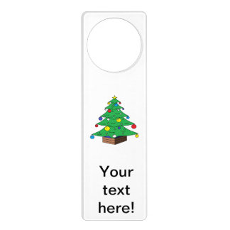 Decorated Christmas tree cartoon Door Knob Hangers