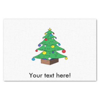 Decorated Christmas tree cartoon Tissue Paper