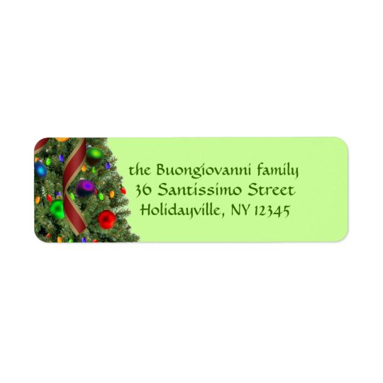 Decorated Christmas Tree Festive Return Address Label