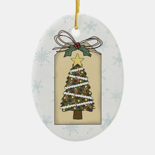 Decorated Christmas Tree Gift Tag Ornament