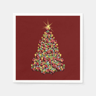 Decorated Christmas Tree Holiday Shining Star Top Paper Napkin