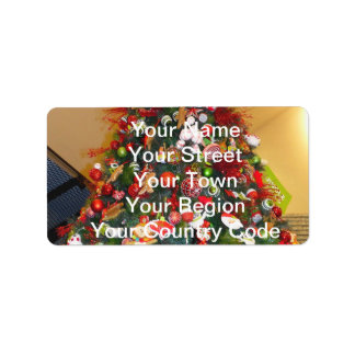 Decorated Christmas Tree Address Label