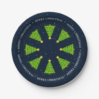 Decorated Christmas trees stars Merry Christmas Paper Plate