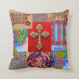 Decorated CROSS with Miniature Art Collection Throw Pillow
