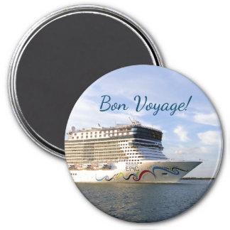 Decorated Cruise Ship Bow Bon Voyage 7.5 Cm Round Magnet