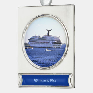 Decorated Cruise Ship Bow Dated Silver Plated Banner Ornament