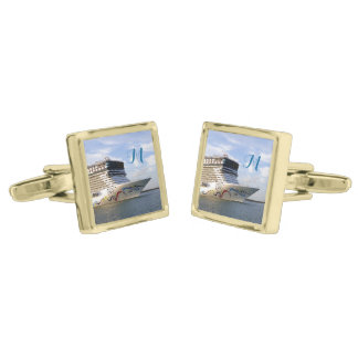 Decorated Cruise Ship Bow Monogrammed Gold Finish Cufflinks