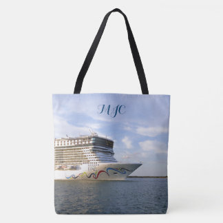 Decorated Cruise Ship Bow Monogrammed Tote Bag