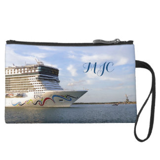 Decorated Cruise Ship Bow Monogrammed Wristlet Purses