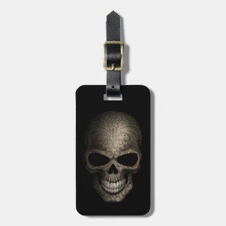 Decorated Dark Skull Luggage Tag