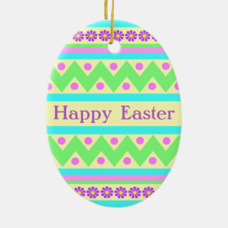 Decorated Easter Egg Ceramic Ornament Customizable Ceramic Oval Ornament