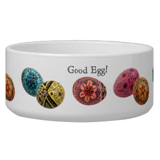 Decorated Egg Dog Bowl